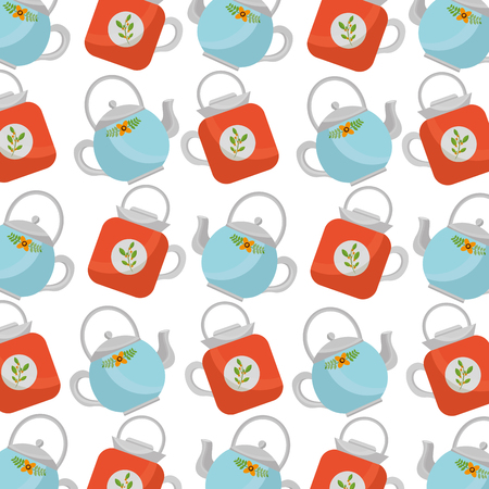 teapot ceramic kitchenware utensil pattern vector illustration