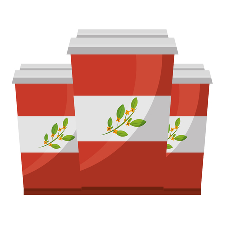 disposable paper cup with tea aromatic beverage vector illustration 向量圖像