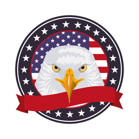 american eagle flag national symbol label ribbon vector illustration
