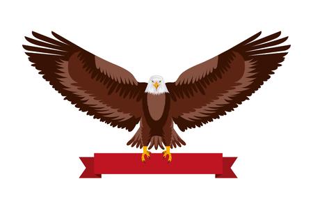 american eagle national red ribbon symbol vector illustration Ilustração