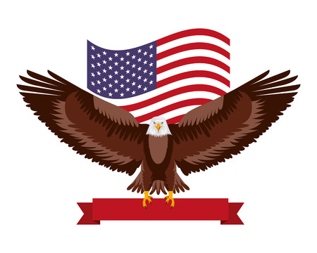 american eagle flag national red ribbon symbol vector illustration