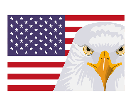american head eagle flag national symbol vector illustration