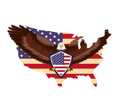 american eagle flag and usa map national symbol vector illustration