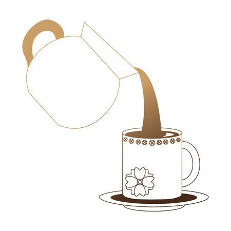 coffee teapot with cup isolated icon vector illustration design Illustration