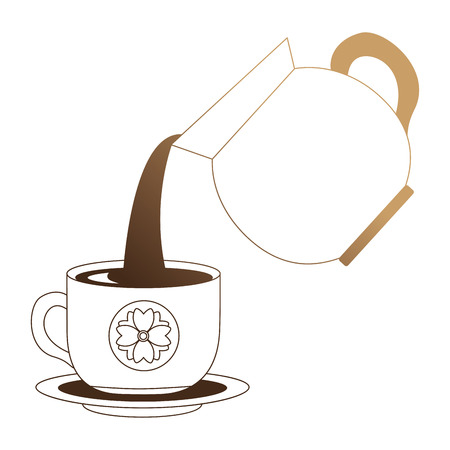 coffee teapot with cup isolated icon vector illustration design Stock Illustratie