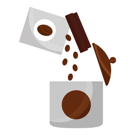 pouring coffee seeds in container product vector illustration