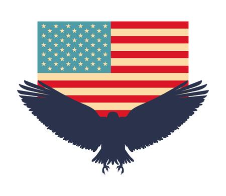 silhouette american eagle flag national symbol vector illustration Illusztráció