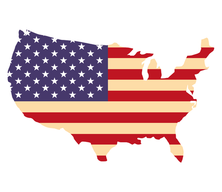 united  states of america flag in map vector illustration Çizim