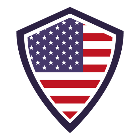 united  states of america flag in shield symbol vector illustration