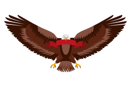 american eagle spread wings with ribbon in the talons vector illustration Stock Vector - 102917118