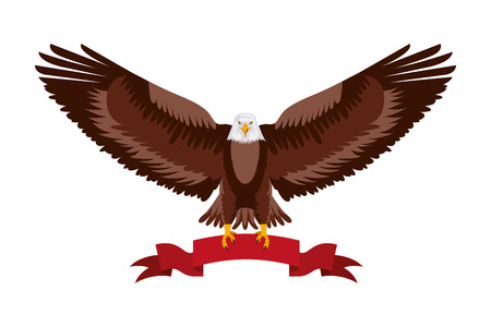 american eagle spread wings with ribbon in the talons vector illustration