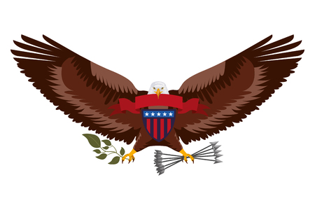 american eagle with ribbon shield branch and arrows vector illustration Ilustração