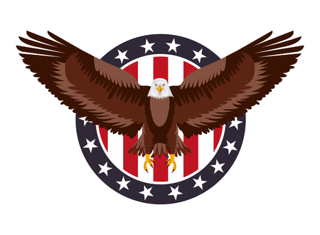 american eagle flag in label decoration vector illustration