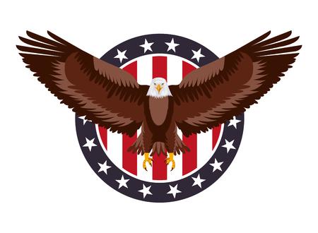 american eagle flag in label decoration vector illustration