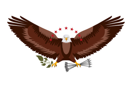 american eagle spread wings with stars arrows and branch vector illustration