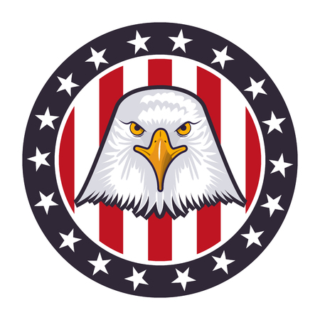 american eagle usa flag emblem vector illustration Illustration