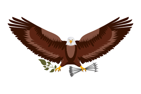 american eagle spread wings with arrows vector illustration