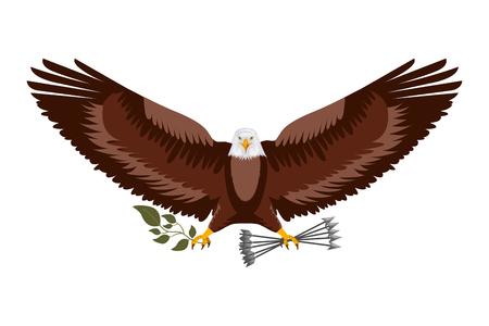 american eagle spread wings with arrows vector illustration