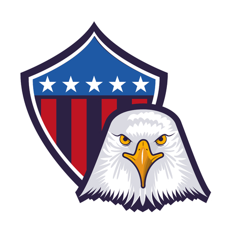 american eagle usa flag shield emblem vector illustration Foto de archivo - 102916884