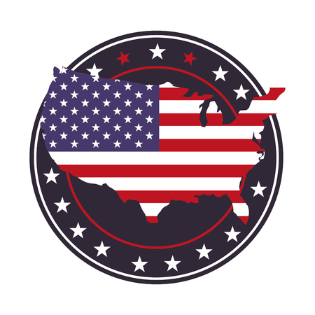 united states of america flag in map and stars vector illustration Illustration