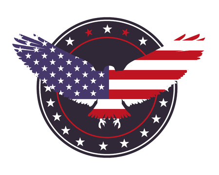 american eagle usa flag emblem label decoration vector illustration