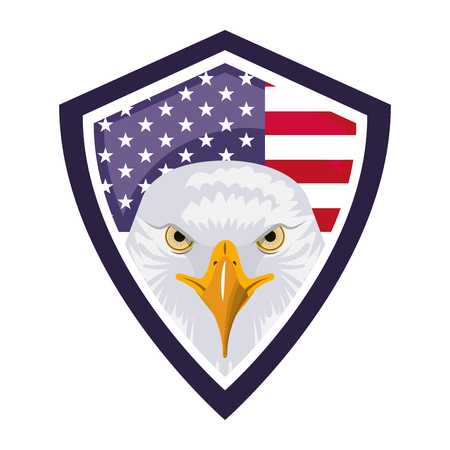 american eagle usa flag shield emblem vector illustration Stok Fotoğraf - 102916909