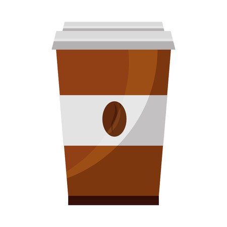 coffee in takeaway cup seeds image vector illustration