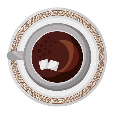 top view coffee cup sugar cubes on dish vector illustration