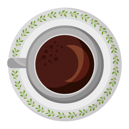 top view coffee cup on dish vector illustration Illustration