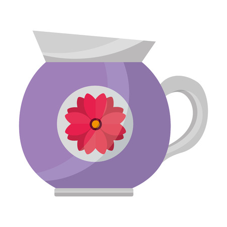 coffee maker ceramic flower decoration vector illustration Banque d'images - 102916923