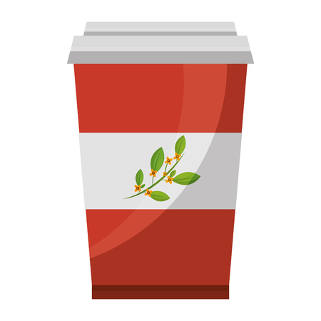 disposable paper cup with tea aromatic beverage vector illustration Illustration
