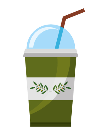 disposable paper cup with tea aromatic beverage vector illustration  イラスト・ベクター素材