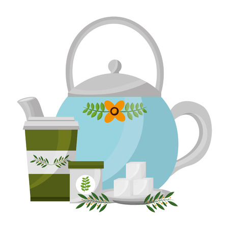 teapot ceramic paper cup tea sugar cubes and leaves vector illustration