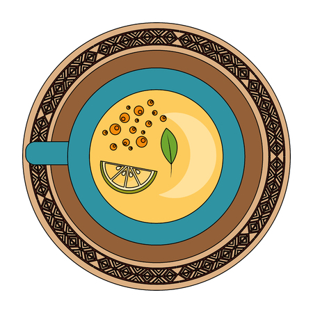 top view tea cup slice lemon beverage vector illustration