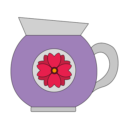 coffee maker ceramic flower decoration vector illustration Ilustrace