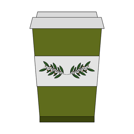 disposable paper cup with tea aromatic beverage vector illustration Çizim