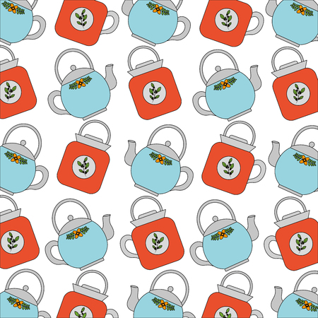 teapot ceramic kitchenware utensil pattern vector illustration