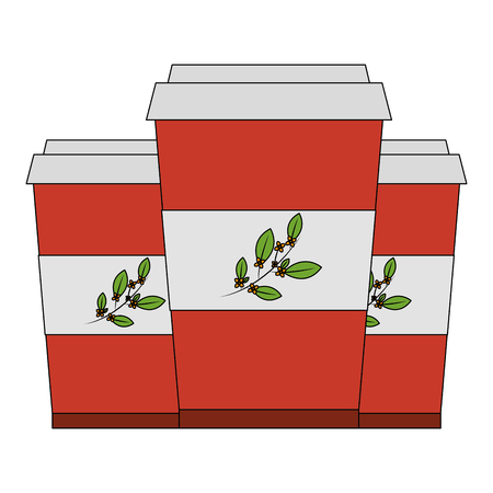 disposable paper cup with tea aromatic beverage vector illustration 일러스트