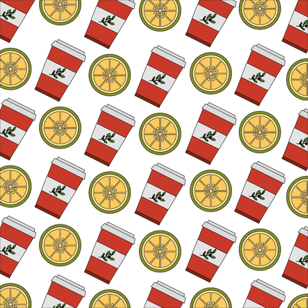 takeaway paper cup tea and slices of lemon pattern vector illustration