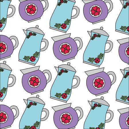 decorative coffee makers flower ceramic pattern vector illustration