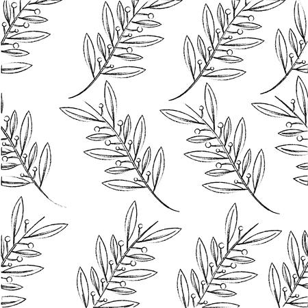 branch leafs plant decoration pattern vector illustration design Illustration