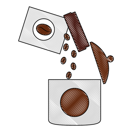 pouring coffee seeds in container product vector illustration drawing