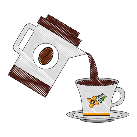 coffee maker pouring in cup beverage vector illustration drawing Illustration