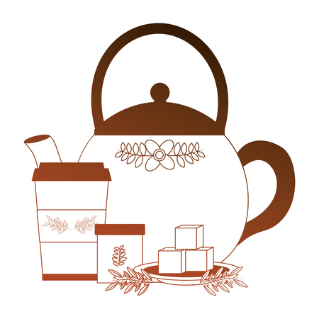 delicious herbs tea cup with teapot and sugar vector illustration design Ilustração