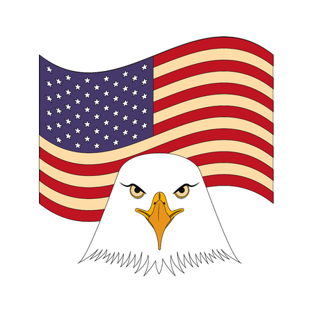 american bald eagle emblem with USA flag vector illustration design