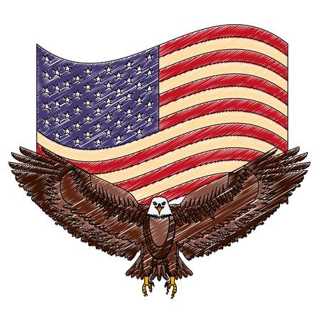 american eagle symbol waving flag national vector illustration drawing