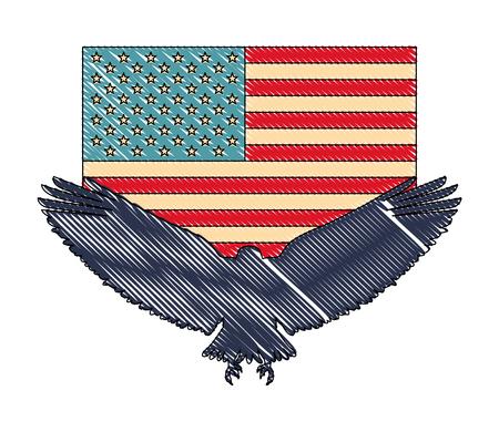 silhouette american eagle flag national symbol vector illustration drawing Illusztráció