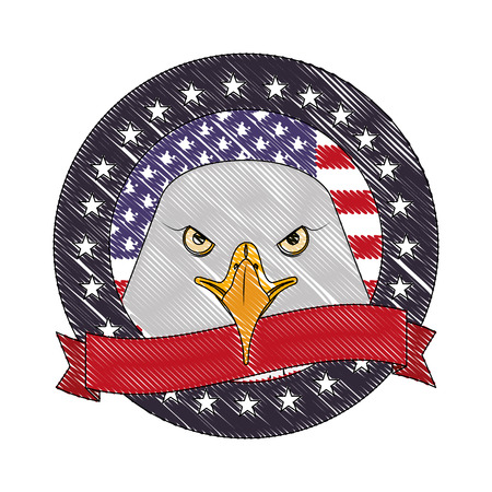 american eagle flag national symbol label ribbon vector illustration drawing Illustration