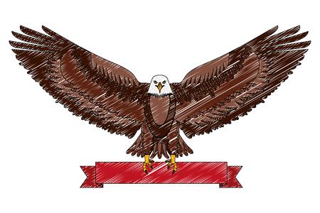 american eagle national red ribbon symbol vector illustration drawing