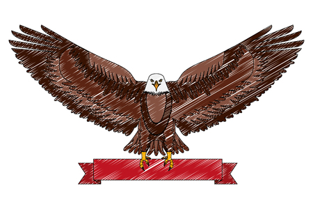 american eagle national red ribbon symbol vector illustration drawing